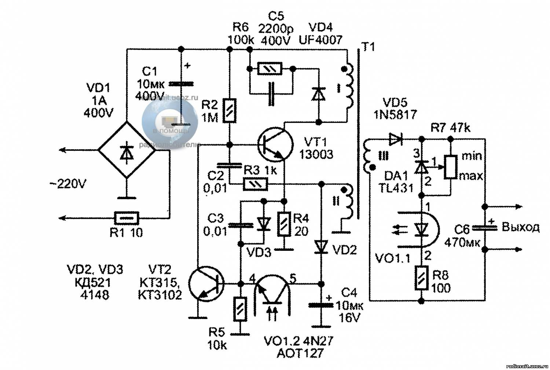 Схема зарядное устройство без трансформатора для телефона